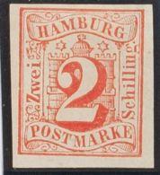 Hamburgo. (*)Yv 3. 1859. 2 S Rojo. MAGNIFICO. (Mi3 70 Euros) - Hamburg