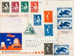Holanda. Sobre Yv 309/11, 312/16, Aéreo 10,11(3). 1938. Dos Series Completas, 30 Cts Verde Y 12 ½ Cts Azul, Tres Sellos. - Holanda