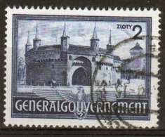 Poland German Occupation 2z Stamp Showing The Barbican Cracow From 1941. - General Government