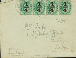 India Británica. Sobre Yv . 1906. ¼ Sobre ½ A Verde, Tira De Cuatro. JHANG A LONDRES. Al Dorso Llegada. MAGNIFICA Y RARO - Tokens Of Communes