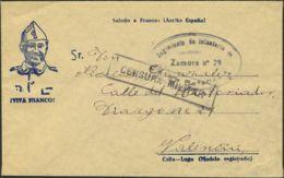 España. Correo / Franquicias Militar. Sobre . 1939. Dirigida A VALENCIA. Marca De Franquicia REGIMIENTO DE 10º BATALLON - Franquicia Militar
