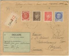 4 VALEURS PETAIN TARIF 4.60F LETTRE RECOMMANDEE 3ème ECHELON TUNISIE EN VALEURS DECLAREES + ETIQUETTE DOUANE 01/12/41 - Marcophilie (Lettres)