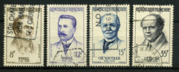 FRANCE   Grands Médecins    N° Y&T  1142 à 1145  (o) - Usados