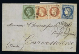 France Complete Letter La Surtaxe D'indemnisation Beziers -> Carcasonne Cachet Numerals Filled Off 19-9-1871 Mixed Stamp - 1870 Beleg Van Parijs