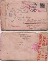 1943. Enveloppe Avec Son Courrier Pour Le ''Ville De Majunga'' Des Forces Navales Françaises Libres - Postmark Collection (Covers)