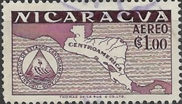 NICARAGUA 1953 Foundation Of Organisation Of Central American States -  1cor. Map Of Central America FU - Nicaragua