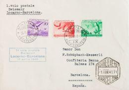 Liechtenstein, Aéreo. Sobre Yv 17, 19, 21. 1940. 10 R Violeta, 20 R Rojo Y 50 R Verde. Certificado De VADUZ A BARCELONA. - Liechtenstein