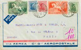 Uruguay. Sobre Yv 423, 425, 428, Aéreos 46, 48A. 1933. 3 Ctvos, 7 Ctvos, 12 Ctvos, 30 Ctvos Verde Y 60 Ctvos Naranja. Co - Uruguay