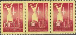 Trieste-Yugoslavia. MNH **Yv 1/3. 1948. 100 L Rojo (banda De Tres Con Los Diferentes Tipos). MAGNIFICA. Yvert 2013: 70 E - Yugoslavia
