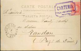 España. Andalucía. Historia Postal. Sobre 243. 1904. 10 Cts Rojo. Tarjeta De VILLAMANRIQUE (SEVILLA) A NANTES (FRANCIA). - Non Classés