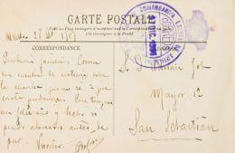 España. Correo / Franquicias Militares. Sobre . 1915. Tarjeta Postal De MELILLA A SAN SEBASTIAN. Marca De Franquicia COM - Franquicia Militar