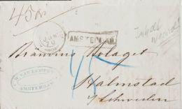 """Holanda. Sobre Yv . 1870. AMSTERDAM A HALMSTAD (SUECIA). Fechador Y Marca Lineal AMSTERDAM Y Porte Manuscrito """"45"""". MAGN - Holanda"""