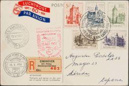 Holanda. Sobre Yv 554/58. 1951. Serie Completa. Tarjeta Postal Certificada De EINDHOVEN A LERIDA. En El Frente Marca SPE - Holanda