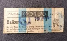 Old Small Ticket CINEMA CORSO Zürich  Switzerland Cinema Schweiz 1950's / 60's Kino - Tickets - Entradas