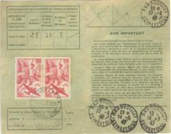 PAIRE PA 50F VICTOIRE AILEE TARIF CARTE ABONNEMENT AUX TIMBRES POSTE 16/12/46 - Marcophilie (Lettres)