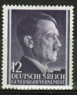 Poland German Occupation 12g Stamp Showing Adolf Hitler From 1941. - General Government