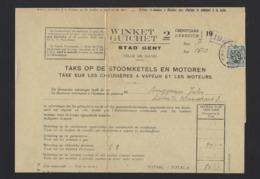 GENT * TAKS OP DE STOOMKETELS EN MOTOREN * 1929 * VILLE DE GAND * 24 X 17 CM =  IN 2 GEVOUWEN - Documents Historiques