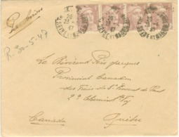 BANDE 4x4F GANDON LETTRE AVION CANADA 23/04/47 - Marcophilie (Lettres)