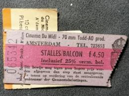 Old LOT Of 3 Ticket CINEMA DU MIDI AMSTERDAM Netherland Holland Zürich  1950's / 60's Kino - Tickets - Entradas