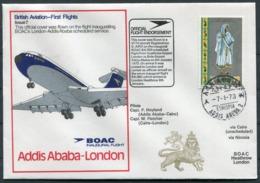 1973 Ethiopia B.O.A.C. First Flight Cover Addis Ababa - London - Ethiopia