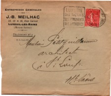 Luxeuil 1927 - Daguin Thermes Broderies - Meilhac - Marcophilie (Lettres)