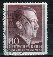 Poland German Occupation 80g Stamp Showing Adolf Hitler From 1941. - General Government