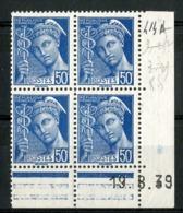 """N° 414 A** (MNH) Cote 24 €. Coin Daté Du 19/8/39. Bloc De Quatre """"Mercure"""". - Ecken (Datum)"""