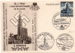 Strasbourg 1941 - Journée Du Timbre - Tag Der Briefmarke - Cathédrale & Croix Gammée - Vedette Marine - Postmark Collection (Covers)