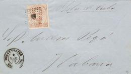 España. Cataluña. Historia Postal. Sobre 124. 1873. 25 Cts Castaño. VILANOVA Y LA GELTRU A LA HABANA (CUBA). MAGNIFICA Y - España