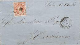 España. Cataluña. Historia Postal. Sobre 124. 1871. 100 Mils Castaño Rojo. VILANOVA Y LA GELTRU A LA HABANA (CUBA). MAGN - España