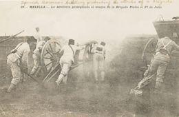 España. Correo / Franquicias Militares. (*). (1909ca). Tarjeta Postal Sin Circular De MELILLA. ARTILLERIA PROTEGIENDO EL - Franquicia Militar