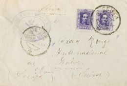España. Correo / Franquicias Militares. Sobre 316(2). 1925. 20 Cts Violeta, Pareja. CEUTA A GINEBRA (SUIZA). En El Frent - Franquicia Militar