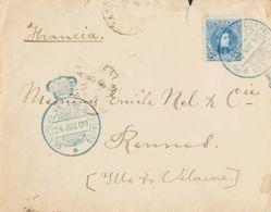 España. Correo / Franquicias Militares. Sobre 248. 1909. 25 Cts Azul. MADRID A RENNES (FRANCIA). Matasello CONGRESO DE L - Franquicia Militar