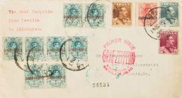 España. Correo Zeppelin. Sobre 323/322. 1930. 4 Pts Y 10 Pts. GRAFF ZEPPELIN De SEVILLA A USA. Al Dorso Llegada. MAGNIFI - Aéreo