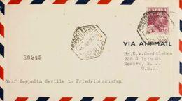 España. Correo Zeppelin. Sobre 322. 1930. 4 Pts Carmín. Graf Zeppelin De SEVILLA A NEWARK (USA). Al Dorso Llegada. MAGNI - Aéreo
