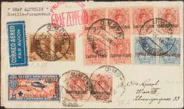 España. Correo Zeppelin. Sobre 365, 323(2). 1930. 10 Pts Castaño, Pareja Y 15 Cts De Cruz Roja. Graf Zeppelin De MADRID - Aéreo