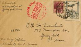 España. Correo Zeppelin. Sobre 487, 322. 1930. 1 Pts Ferrocarriles Aérea Y 4 Pts. Graf Zeppelin De SEVILLA A U.S.A. Al D - Aéreo