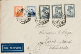 España. Correo Zeppelin. Sobre 670, 671, 673(3). 1933. 40 Cts Azul, 50 Cts Naranja Y 1 Pts Pizarra, Tres Sellos. Graf Ze - Aéreo