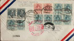 España. Correo Zeppelin. Sobre 321(2), 295(8), 296(2). 1930. 1 Pts Pizarra, Dos Sellos, 50 Cts Azul Verdoso, Ocho Sellos - Aéreo