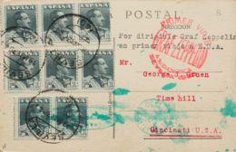 España. Correo Zeppelin. Sobre 321(8). 1930. 1 Pts Pizarra, Ocho Sellos. Tarjeta Postal Por Graf Zeppelín De SEVILLA A C - Aéreo