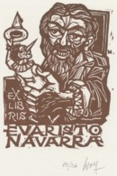 Ex Libris Evaristo Navarra - Remo Wolf (1912-2009) Gesigneerd - Ex-Libris