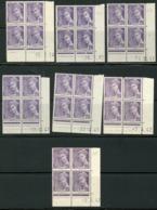 """N° 413 **/* (MNH/MH). 7 Coins Datés Différents. Blocs De Quatre """"Mercure"""". Voir Description - Ecken (Datum)"""