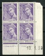 """N° 413 ** (MNH) Coin Daté Du 10/1/39. Bloc De Quatre """"Mercure"""". - Ecken (Datum)"""