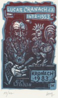 Ex Libris Lucas Cranach De Oude (1472-1553) Kronach 1983 - Remo Wolf (1912-2009) Gesigneerd - Ex-Libris