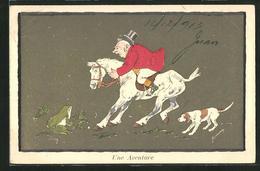 Künstler-AK Une Aventure, Frosch Erschrickt Pferd Mit Reiter - Dieren