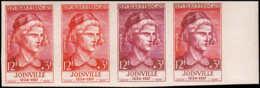 FRANCE   ** 1108 Bande De 4 Essais En Cerise, Rouge, Lie De Vin Et Bicolore: Joinville - Essais