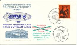 Germany Cover Sent 4-10-1967 Also On Board Schwab Airship D-Lisa Deutschlandfahrten 1967 - [7] République Fédérale