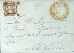 España. Cataluña. Historia Postal. Sobre 1A. 1850. 6 Cuartos Negro. SITJES A MADRID. MAGNIFICA Y MUY RARA. - Ohne Zuordnung