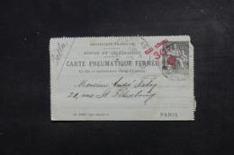 FRANCE - Pneumatique - Entier Postal Type Chaplain Surchargé De Paris En 1902 - L 46625 - Neumáticos