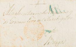 "España. Castilla Y León. Prefilatelia. Sobre . 1846. PAMPLONA A BURGOS. Marca ""A"", En Azul De Abono Aplicada A La Llegad - ...-1850 Prephilately"